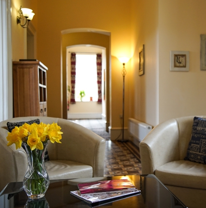 The entrance lobby at Wildercombe House